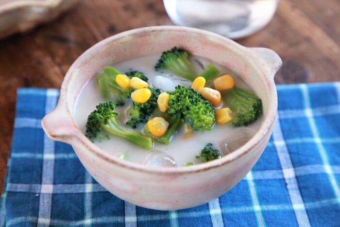 #冷『ブロッコリーとコーンのクリーミー冷やしみそ汁』