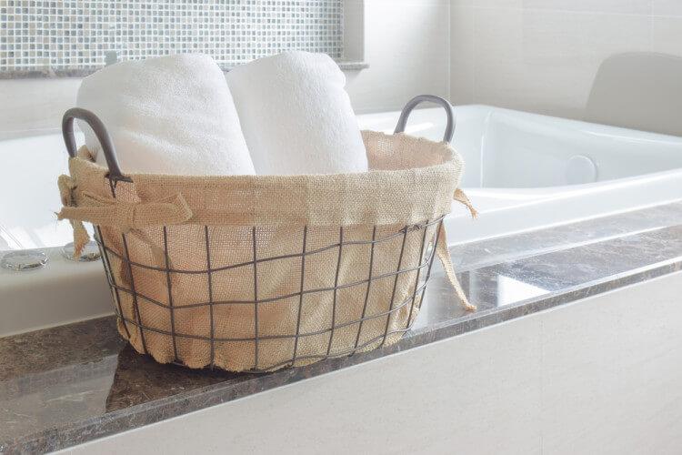 バスルームにセットしてあるバスタオル