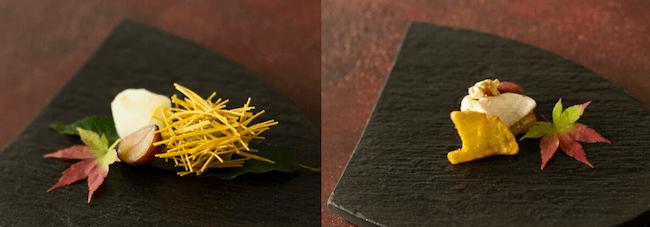 抹茶ポテトサラダのいがぐり・ほうじ茶チーズのオープンサンド