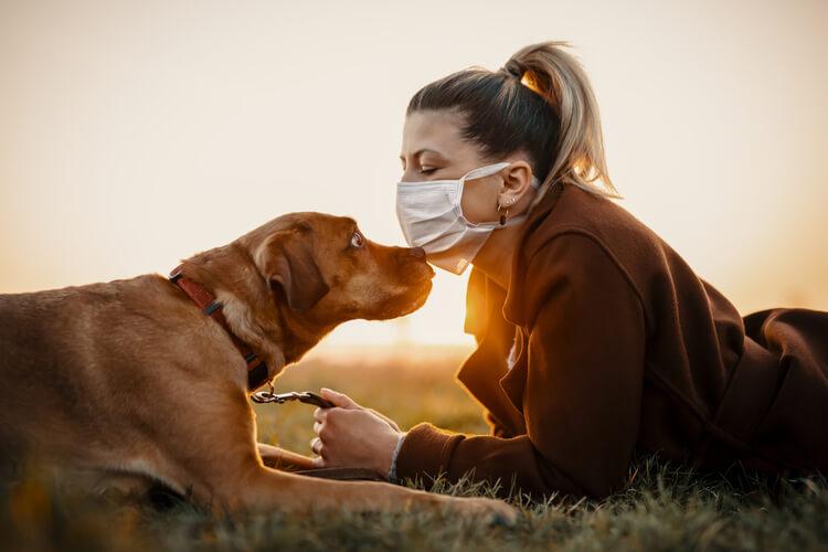 マスクをつけた女性と犬