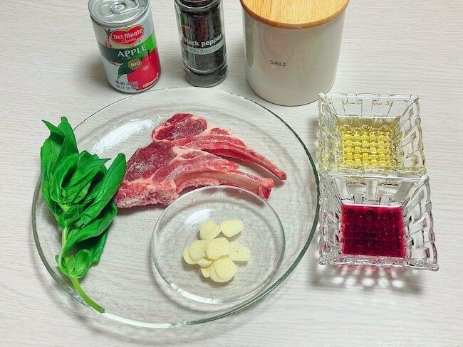 『ラムチョップのソテー 赤ワインビネガー風味』【材料】