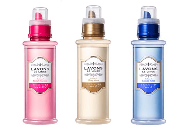ラボン『シャレボン オシャレ着用洗剤』フレンチマカロンの香り、シャイニームーンの香り、セラグジュアリーリラックスの香り