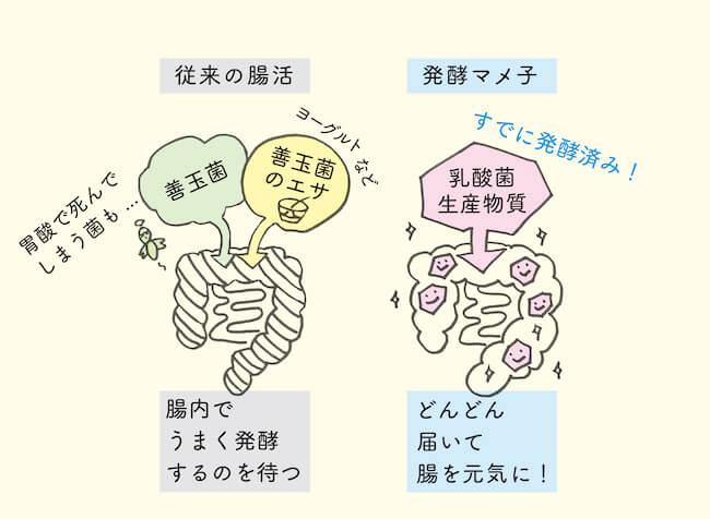 「発酵マメ子 フローラゼリー」主役は発酵で生まれる「乳酸菌生産物質(バイオジェニックス)」。 スピーディーな腸活のためのキー成分!