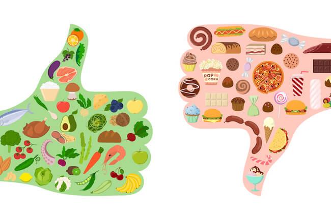 低脂肪・低カロリーな食べ物/高脂肪・高カロリーな食べ物