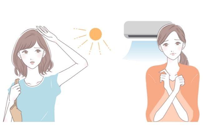 夏の日差し・エアコン イラスト 女性