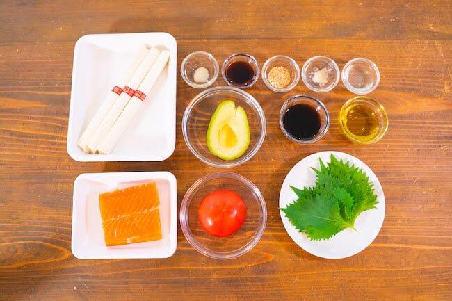 サーモンとトマトのさっぱりレモンだれ素麺の材料