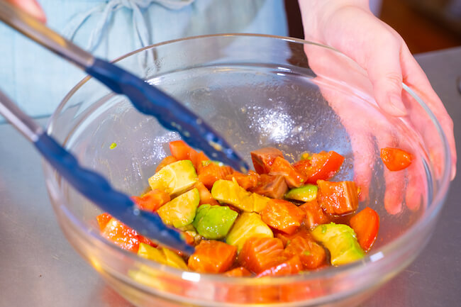 『サーモンとトマトのさっぱりレモンだれ素麺』作り方2